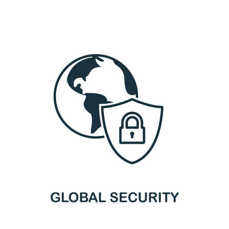 Global Security icon outline style. Simple glyph from icons collection. Line Global Security icon for web design and software  イラスト・ベクター素材