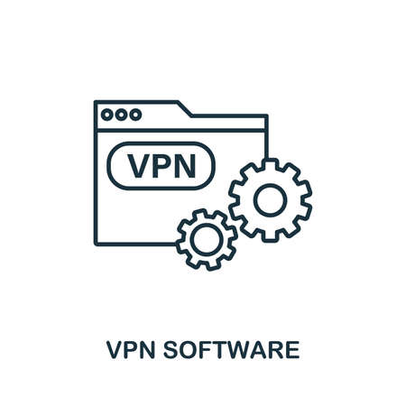 Vpn Software icon outline style. Simple glyph from icons collection. Line Vpn Software icon for web design and software