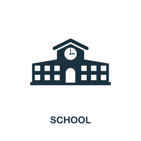 School vector icon symbol. Creative sign from education icons collection. Filled flat School icon for computer and mobile Zdjęcie Seryjne - 128881555