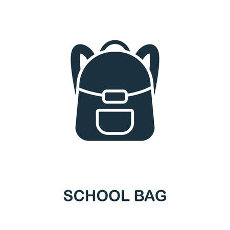 School Bag vector icon symbol. Creative sign from education icons collection. Filled flat School Bag icon for computer and mobile Ilustracja