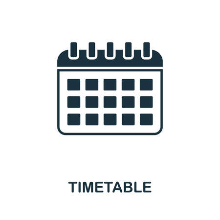 Timetable vector icon symbol. Creative sign from education icons collection. Filled flat Timetable icon for computer and mobile Ilustracja