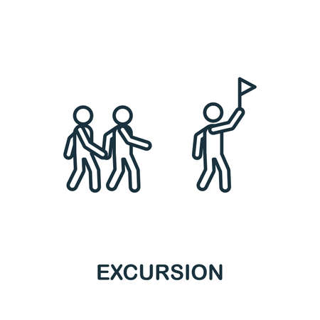 Excursion outline icon. Thin line concept element from tourism icons collection. Creative Excursion icon for mobile apps and web usage.