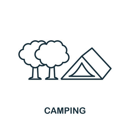 Camping outline icon. Thin line concept element from tourism icons collection. Creative Camping icon for mobile apps and web usage. Illustration
