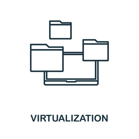 Virtualization icon. Thin outline style design from web hosting icons collection. Creative Virtualization icon for web design, apps, software, print usage. Иллюстрация