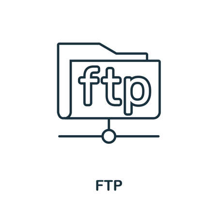 Ftp icon. Thin outline style design from web hosting icons collection. Creative Ftp icon for web design, apps, software, print usage. Vektorové ilustrace