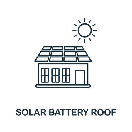 Solar Battery Roof outline icon. Creative design from smart devices icon collection. Premium Solar Battery Roof outline icon. For web design and printing. Archivio Fotografico - 128985172