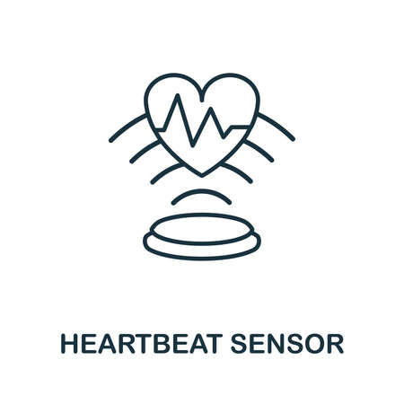Heartbeat Sensor outline icon. Thin line style from sensors icons collection. Pixel perfect simple element heartbeat sensor icon for web design, apps, software, print usage.
