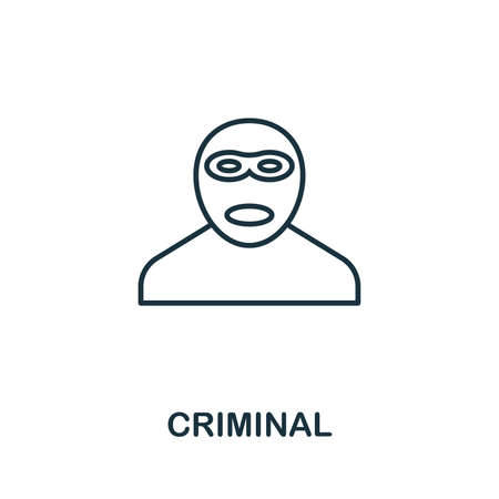 Criminal thin line icon. Creative simple design from security icons collection. Outline criminal icon for web design and mobile apps usage. Imagens - 128991683