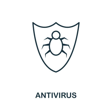 Antivirus thin line icon. Creative simple design from security icons collection. Outline antivirus icon for web design and mobile apps usage.