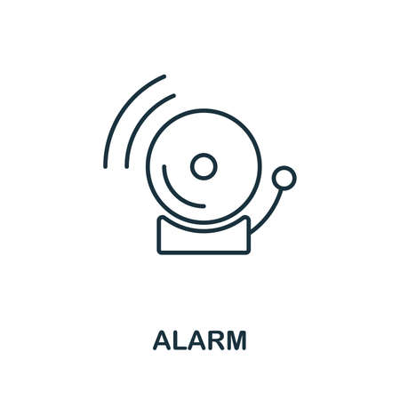 Alarm thin line icon. Creative simple design from security icons collection. Outline alarm icon for web design and mobile apps usage.