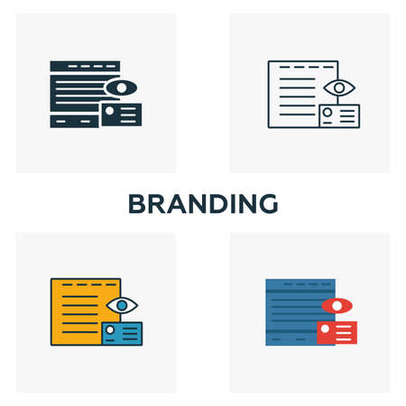 Branding icon set. Four elements in diferent styles from advertising icons collection. Creative branding icons filled, outline, colored and flat symbols.