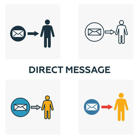 Direct Message icon set. Four elements in diferent styles from advertising icons collection. Creative direct message icons filled, outline, colored and flat symbols. Zdjęcie Seryjne - 128958531