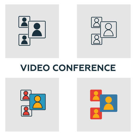 Video Conference icon set. Four elements in diferent styles from visual device icons collection. Creative video conference icons filled, outline, colored and flat symbols.