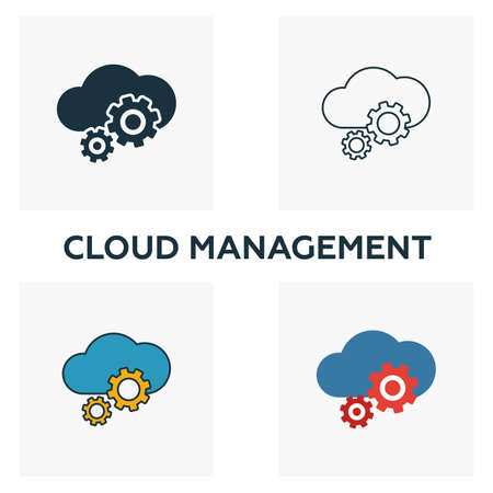Cloud Management icon set. Four elements in diferent styles from big data icons collection. Creative cloud management icons filled, outline, colored and flat symbols.