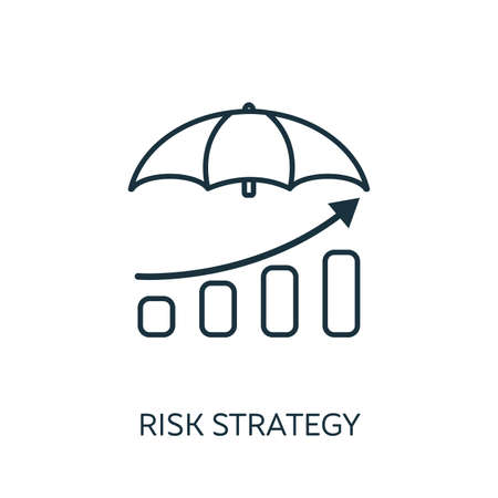 Risk Strategy outline icon. Thin line concept element from risk management icons collection. Creative Risk Strategy icon for mobile apps and web usage. Çizim