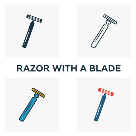 Razor With A Blade icon set. Four elements in diferent styles from barber shop icons collection. Creative razor with a blade icons filled, outline, colored and flat symbols.