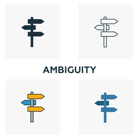 Ambiguity icon set. Four elements in diferent styles from big data icons collection. Creative ambiguity icons filled, outline, colored and flat symbols. Illustration