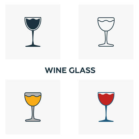 Wine Glass icon set. Four elements in diferent styles from bar and restaurant icons collection. Creative wine glass icons filled, outline, colored and flat symbols.