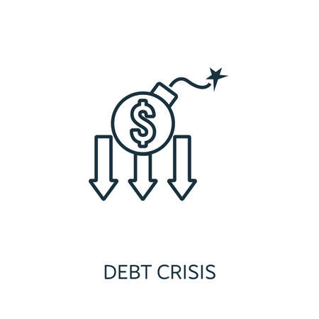 Debt Crisis outline icon. Thin line concept element from risk management icons collection. Creative Debt Crisis icon for mobile apps and web usage.