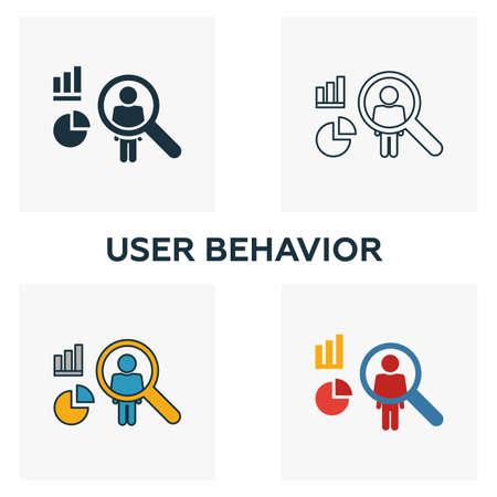 Conjunto de iconos de comportamiento del usuario. Cuatro elementos en diferentes estilos de la colección de iconos de big data. Iconos de comportamiento de usuario creativo llenos, contornos, colores y símbolos planos. Ilustración de vector