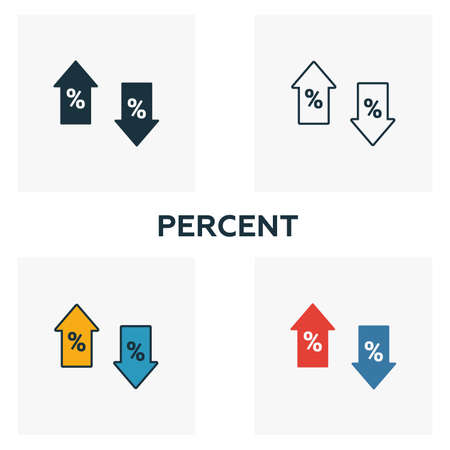 Percent icon set. Four elements in diferent styles from business icons collection. Creative percent icons filled, outline, colored and flat symbols.