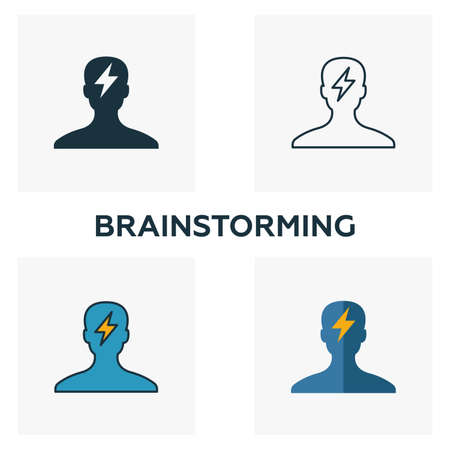 Brainstorming icon set. Four elements in diferent styles from business icons collection. Creative brainstorming icons filled, outline, colored and flat symbols. Stock Illustratie