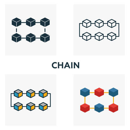 Chain icon set. Four elements in diferent styles from blockchain icons collection. Creative chain icons filled, outline, colored and flat symbols.
