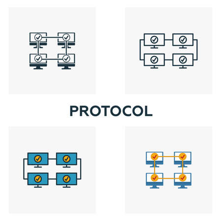 Protocol icon set. Four elements in diferent styles from blockchain icons collection. Creative protocol icons filled, outline, colored and flat symbols. Vector Illustration