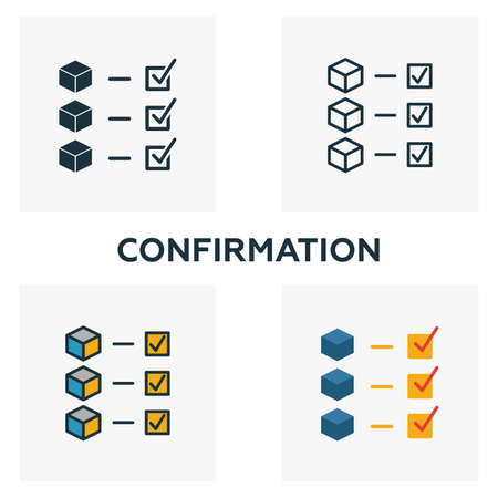 Confirmation icon set  Four elements in diferent styles from