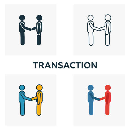 Transaction icon set. Four elements in diferent styles from blockchain icons collection. Creative transaction icons filled, outline, colored and flat symbols.