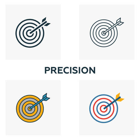 Precision icon set. Four elements in diferent styles from business icons collection. Creative precision icons filled, outline, colored and flat symbols. Illustration