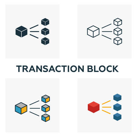 Transaction Block icon set. Four elements in diferent styles from blockchain icons collection. Creative transaction block icons filled, outline, colored and flat symbols.