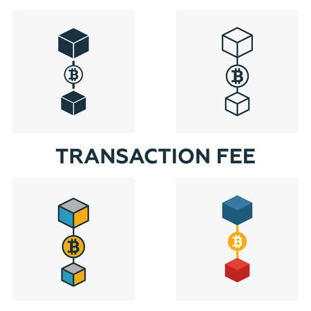 Transaction Fee icon set. Four elements in diferent styles from blockchain icons collection. Creative transaction fee icons filled, outline, colored and flat symbols.