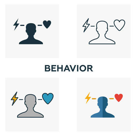 Behavior icon set. Four elements in diferent styles from business ethics icons collection. Creative behavior icons filled, outline, colored and flat symbols.