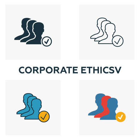 Corporate Ethics icon set. Four elements in diferent styles from business ethics icons collection. Creative corporate ethics icons filled, outline, colored and flat symbols. Stock Illustratie