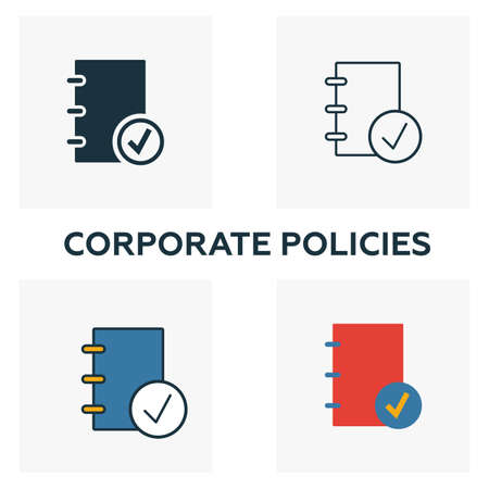 Corporate Policies icon set. Four elements in diferent styles from business ethics icons collection. Creative corporate policies icons filled, outline, colored and flat symbols.