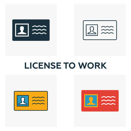 License To Work icon set. Four elements in diferent styles from business ethics icons collection. Creative license to work icons filled, outline, colored and flat symbols. Çizim