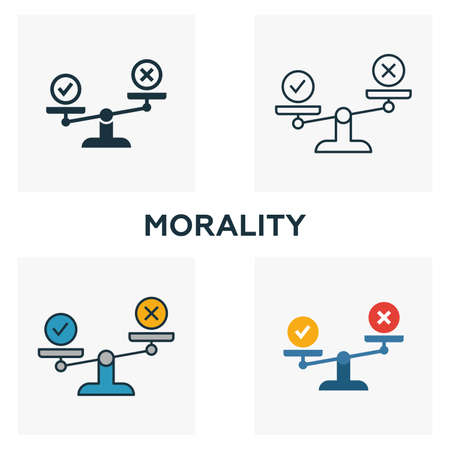Morality icon set. Four elements in diferent styles from business ethics icons collection. Creative morality icons filled, outline, colored and flat symbols.