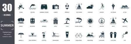 Summer icon set. Contain filled flat sun, anchor, sunglasses, palm, aircraft, backpack, swimsuit icons. Editable format. Reklamní fotografie