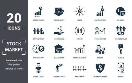 Stock Market icon set. Contain filled flat bear market, stock market, prices, stock agent, business day, capital stock, commission icons. Editable format. Фото со стока