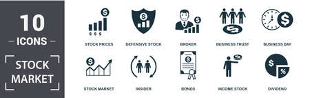 Stock Market icon set. Contain filled flat broker, stock prices, business day, business trust, dividend, defensive stock icons. Editable format.