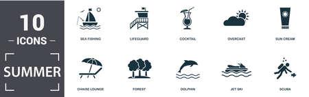 Summer icon set. Contain filled flat kite, sea fishing, lifeguard, cocktail, overcast, sun cream, chaise lounge, forest, dolphin, jet ski, scuba icons. Editable format. Foto de archivo - 129187543
