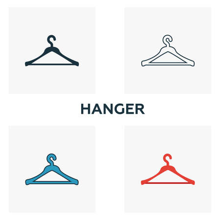 Hanger icon set. Four elements in diferent styles from clothes icons collection. Creative hanger icons filled, outline, colored and flat symbols.