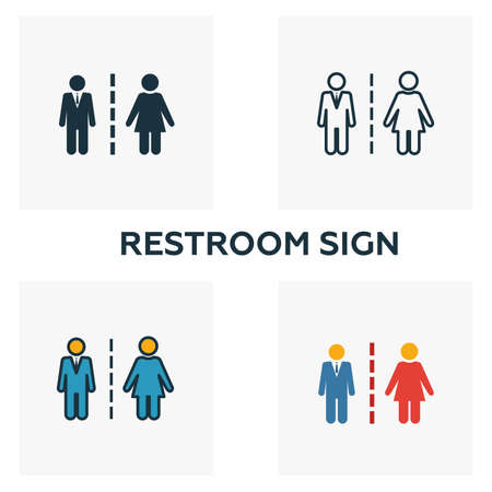 Restroom Sign icon set. Four elements in diferent styles from city elements icons collection. Creative restroom sign icons filled, outline, colored and flat symbols.