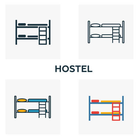 Hostel outline icon. Thin style design from city elements icons collection. Pixel perfect symbol of hostel icon. Web design, apps, software, print usage.