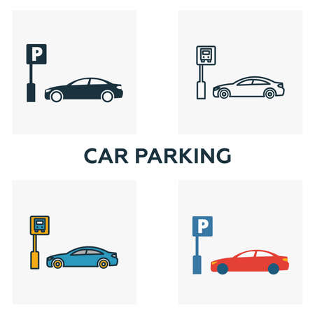 Car Parking outline icon. Thin style design from city elements icons collection. Pixel perfect symbol of car parking icon. Web design, apps, software, print usage.