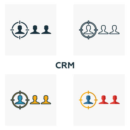 Crm icon set. Four elements in diferent styles from business management icons collection. Creative crm icons filled, outline, colored and flat symbols.