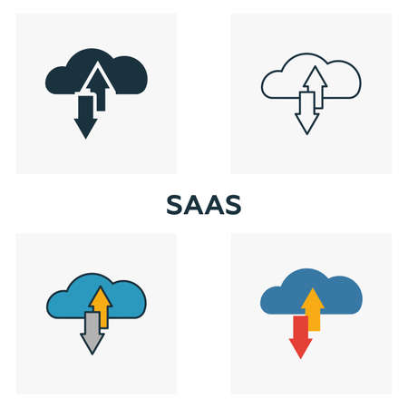 Saas icon set. Four elements in diferent styles from business management icons collection. Creative saas icons filled, outline, colored and flat symbols.