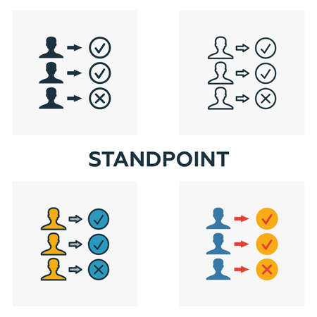 Standpoint icon set. Four elements in diferent styles from business management icons collection. Creative standpoint icons filled, outline, colored and flat symbols.
