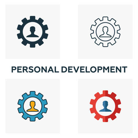 Personal Development icon set. Four elements in diferent styles from business management icons collection. Creative personal development icons filled, outline, colored and flat symbols.